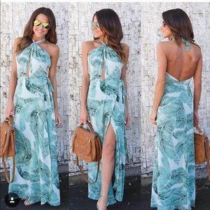 Floral leaf maxi summer dress